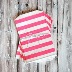 Rugby Striped Favor Bags - Bright Pink - Medium