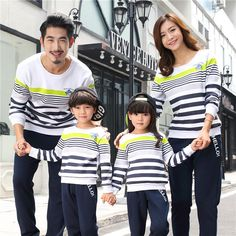 Cotton Long Sleeve Sweatshirts Family Matching Outfits $36.16 Kids Fashion, Fashion Outfits, Fashion Ideas, Matching Family Outfits, Matching Clothes, Clothes For Sale, Clothes For Women, Mother Daughter Outfits, Stripes Fashion