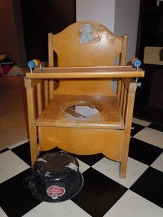 Vintage Wooden Potty Chair Training Seat Baby Child