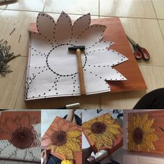 Small sunflower string art sign sunflower wall art flower decor gift for her handmade art valentine s day mothers day present – ArtofitThis pin has been crazy popular here s a way to create string art even if you don t own a saw or sander to finish String Art Templates, String Art Patterns, Cute Crafts, Crafts To Make, Arts And Crafts, Craft Gifts, Diy Gifts, String Art Diy, String Crafts