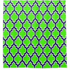 ordered for ayden u0026 angieu0027s bathroom shower curtain lime chevron navy u0026 white quatrefoil any colors your
