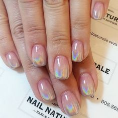 If you're looking to spice up your nail art designs, try holographic nails! They're shiny, shimmery and whimsical enough to make you feel like royalty. Since metallic or chrome nails took the nail world by storm different types of shiny, shimmery nai Acrylic Nail Designs, Nail Art Designs, Acrylic Nails, Acrylic Mirror, Short Nail Designs, Holographic Nails Acrylic, Chrome Nails Designs, Holographic Makeup, Shellac Nail Art
