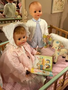 "Ideal, ""suzy"" playpal and a 1950's horsman babydoll pictured with vintage toys"
