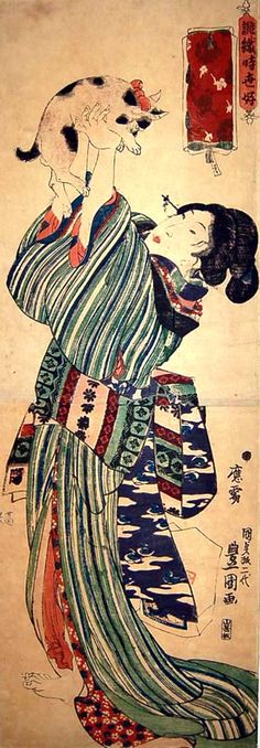 Woman hoisting her Japanese Bob Tail cat above her head Tsunoda Kunisada – Japanese Artwork, Japanese Painting, Japanese Prints, Japanese Cat, Japanese Bobtail, Asian Cat, Art Chinois, Japan Art, Wildlife Art