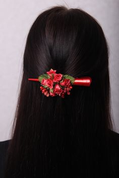 Flower Hair Clips for Women Vegan Pin Red Rose Hair Clip Flower Hair Clip Hair Claw Clip Hair Extensions Clip In Hair Barrette Liberty Wedding Hair Clips, Wedding Hair Flowers, Bridal Hair Pins, Flowers In Hair, Flower Girl Headbands, Flower Hair Clips, Shaggy Pixie Cuts, Natural Dark Hair, Mexican Hairstyles