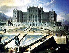 Il Castello di Rivoli, raffigurazione di come avrebbe dovuto essere. Progettato nel 1718 da Filippo Juvarra per Vittorio Amedeo di Savoia, era stato pensato come una grandiosa costruzione, da sovrapporre ai resti del palazzo seicentesco. Il cantiere fu bruscamente interrotto nel 1727.