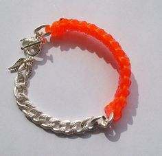 Gimp'N'Links Coral Cuff Bracelet     http://www.etsy.com/listing/94804737/gimpnlinks-bright-coral-cuff