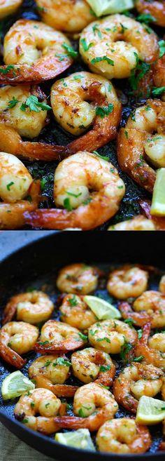 Honey Garlic Shrimp – easy skillet shrimp with honey garlic sauce with only 4 ingredients. The BEST honey garlic shrimp recipe ever   rasamalaysia.com