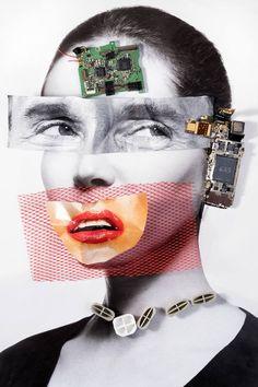 Original Portrait Photography by Zeren Badar | Conceptual Art on Paper | Cellphone Head - Limited Edition 1 of 25