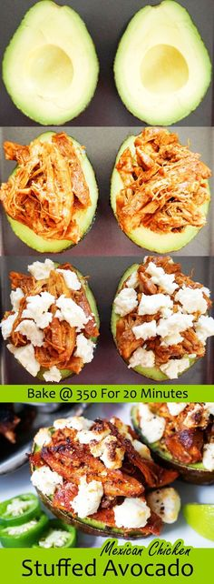 Mexican Stuffed Avocado with slow cooked shredded chicken ketoconnect.net http://ketoconnect.netrecipe/stuffed-avocado/
