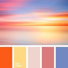 color palette, colors of purple sunset, dark cyan, delicate orange, design palettes, gray-pink, lilac color, midnight blue, Orange Color Palettes, pale pink, pink, saturated cyan, shades of orange, sunset color.
