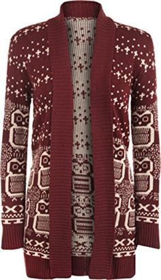 bcedeedd93 R KON WOMEN LADIES OWL PRINT KNITTED WINTER JUMPER OPEN CARDIGAN TOP