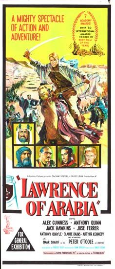 Buy an original vintage Lawrence of Arabia Australian Daybill movie poster. Starring Peter O'Toole, Omar Sharif, Alec Guinness, and directed by David Lean 525 Movie Poster Frames, Old Movie Posters, Classic Movie Posters, Cinema Posters, Movie Poster Art, Classic Movies, Epic Film, Film Movie, Old Movies