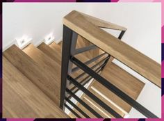 Sheriff Design added a new photo. Staircase Handrail, Stair Railing Design, Home Stairs Design, Interior Stairs, House Design, Living Room Lighting Design, Interior Design Living Room, Modern Interior, Metal Stairs