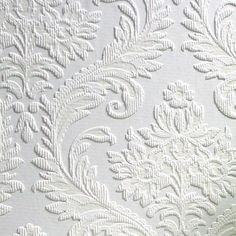 Brewster RD80027 Anaglypta Paintable Large Traditional Damask Wallpaper, 21-Inch by 396-Inch, White