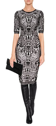 Optical intarsia knit patterning lends an eye-catching look to this figure-hugging dress from Hervé Léger #Stylebop