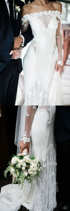 off the shoulder mermaid wedding dresses, dream wedding dresses with lace, elegant big day dress with sleeves