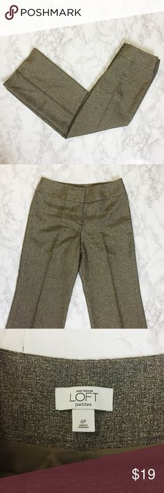 Ann Taylor LOFT Petite Wide Leg Pants Slightly shimmery, brown wide leg pants. Fully lined. LOFT Pants Wide Leg