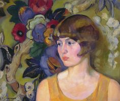 Mabel Alvarez -  In the Garden, c. 1922, Oil on canvas,  20 x 24 inches, Laguna Art Museum