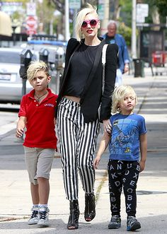 Gwen Stefani with her sons Kingston and Zuma