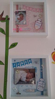 Gift for newborn - Geburtstag - Baby Diy Shadow Box Baby, Newborn Crafts, Baby Crafts, Baby Presents, New Baby Gifts, Cute Baby Shower Gifts, Baby Frame, Baby Memories, Baby Scrapbook