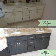 before and after of bathroom vanity makeover by The Bearded Iris using Annie Sloan Chalk Paint Source [& The post before and after of bathroom vanity makeover by The Bearded Iris using Annie Slo… appeared first on Lee Scahartz Interiors. Chalk Paint Cabinets, Painting Bathroom Cabinets, Bathroom Vanity Cabinets, Bathroom Vanities, Refinish Bathroom Vanity, Downstairs Bathroom, Bathroom Wall, Bathroom Ideas, Bathroom Vanity Makeover