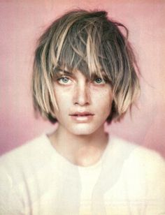 Short hair with bangs and #ombre. Would do a more dramatic contrast; same blonde; deeper richer base
