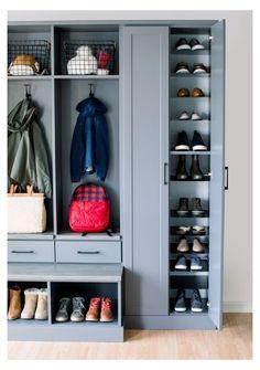 Entryway Closet, Bed In Closet, Entryway Storage, Shoe Storage Mudroom Ideas, Organized Entryway, Closet Mudroom, Shoe Closet, Storage Ideas, Mudroom Laundry Room