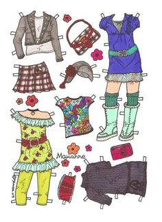 Marianne Paper Doll in Colours. Marianne påklædningsdukke i farver. Just For Fun, Doll Patterns, Paper Dolls, Monkey, Doll Clothes, Ford, Paper Crafts, Teen, Colours