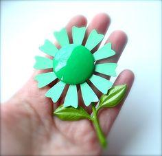 vintage mint green brooch - love