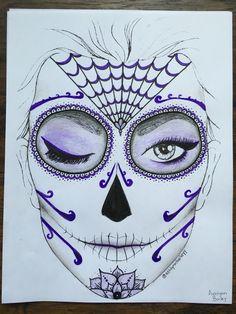 Purple sugar skull (day of the dead) makeup look drawn by me (@ashlynnbaileyy)