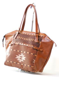 Navajo pattern and Brown Leather Tote.