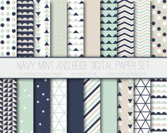 Modern Digital Paper, Navy, Mint, Beige Geometric Patterns, Digital Background, Scrapbook Paper, Web Design, Card Design