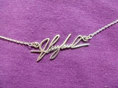 Personal Signature Necklace- Sterling Silver - Any Language/Symbol/Font Is Possible - Hand Writing/ Personalized Memorial Necklace on Etsy, $39.00- used my grandmothers handwriting. Love it. Could do this with a child's writing too!