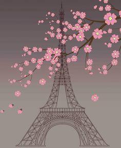Paris,french,eiffel tower,chic,sakura tree,spring blossom,modern,trendy,girly,