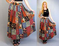 Vintage 90s Express High Waisted Patchwork Floral Rose Polka Dot Print Full Length Long Maxi Skirt Boho Gypsy Hippie Festival by BlueFridayVintage