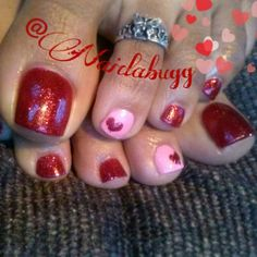 And so I did the toes to match for Valentine's Day:) #vday #nails #nail art #pedicures #nail designs #pink #red #glitter polish #toe ring #feet