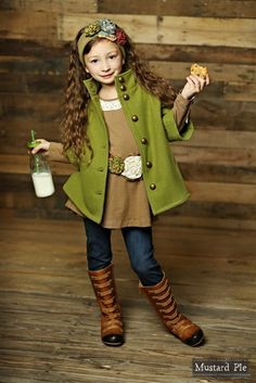 So adorable for fall! Love the green jacket. #MustardPie #MyLittleJules