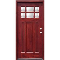 Pacific Entries 36 in. x 80 in. Craftsman 6 Lite Stained Mahogany Wood Prehung Front Door with 6 in. Wall Series, Medium Mahogany