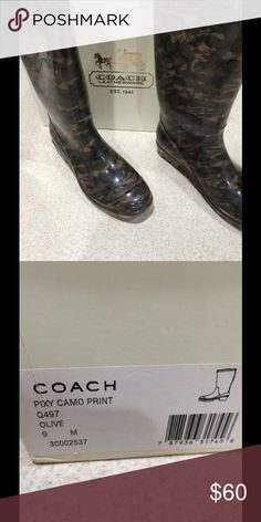 Coach Camo Rubber Boots Only worn once, in excellent condition! Coach Shoes Winter & Rain Boots