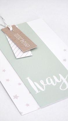 DIY-knipkaart Ivay - Lief geboortekaartje waarbij de kleuren naar wens aangepast kunnen worden - sterretjes - mintgroen - strepen - labelkaartje - labeltjes