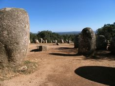 Almendres Cromlech (Cromeleque dos Almendres) stone circle is the most important megalithic site in Portugal. Consisting of 96 standing stones arranged in an oval, it dates from 5000-4000 BC.
