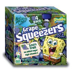 Natures Child Squeezers, SpongeBob Grape, 4-Count (Pack of 4)
