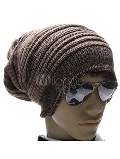 Brown Stripe Cotton Stylish Men s Beanie Hat - Milanoo.com Mens Beanie Hats 0fca8d82ce4a