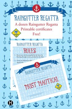 Cub Scout Raingutter Regatta printable certificates