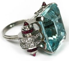 Art deco Cartier- aquamarine, diamond and ruby ring, set in platinum