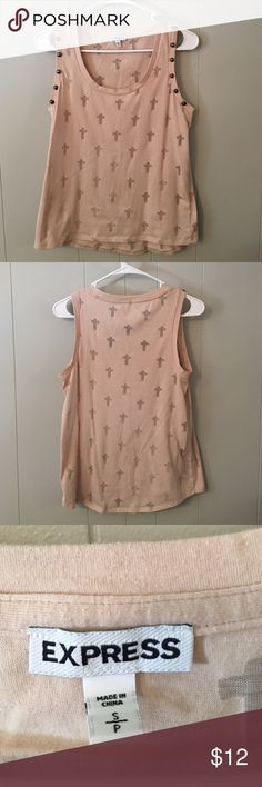 Express Tank Top Beige Express Tank Top with cross and studs. Worn 2 to 3 times. Great condition. Express Tops Tank Tops