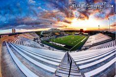Montana State Football Stadium Fiery Sunset