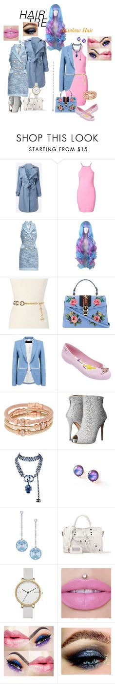 """""""One hair, two outfits"""" by shanry ❤ liked on Polyvore featuring beauty, Balmain, Michael Kors, Gucci, Barbara Bui, Melissa, Henri Bendel, Lauren Lorraine, Chanel and Swarovski"""