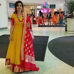 Yellow and Red. Know as Part Pasapu and kumkum an Saree Gown, Sari Dress, Anarkali Dress, Anarkali Suits, Long Anarkali, Lehenga Blouse, Indian Designer Outfits, Indian Outfits, Designer Dresses